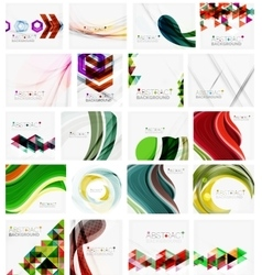 Various set of geometric abstract backgrounds vector