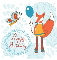 Adorable happy birthday card with beautiful fox vector