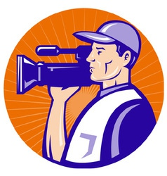 Cameraman holding movie camera vector