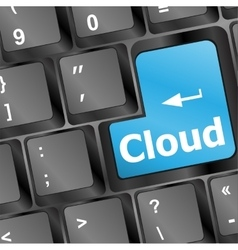 Keyboard with cloud computing button vector