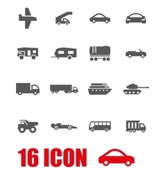 Grey vehicles icon set vector