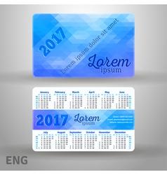 English pocket blue colors calendar for 2017 vector image