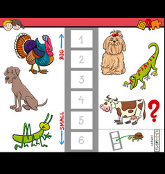 Big and small animals game for children vector