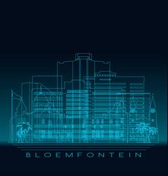 Bloemfontein skyline detailed silhouette vector