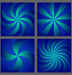 Blue spiral and ray burst background design set vector