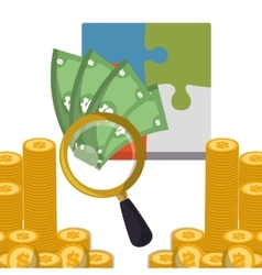 Business strategy search money coins vector