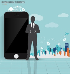 Businessman and touchscreen device with building vector