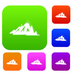 Canadian mountains set color collection vector