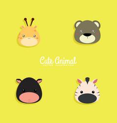Cartoon animals face vector