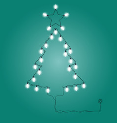 Christmas tree made of christmas lights vector