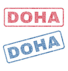 Doha textile stamps vector