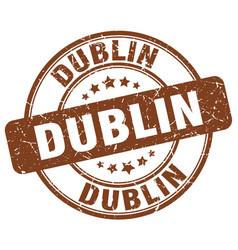 Dublin brown grunge round vintage rubber stamp vector