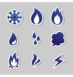Fire freeze steam water icons vector