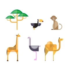 Flat african animals and plants geometric style vector
