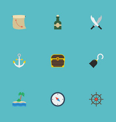 Flat icons bottle treasure map pirate and other vector