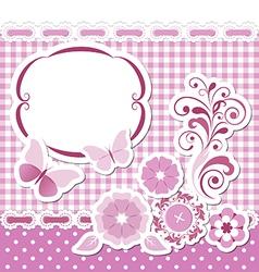 Floral scrapbook pink set vector image vector image
