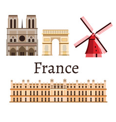 france romance set icon vector image