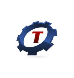 Gear logo letter t vector