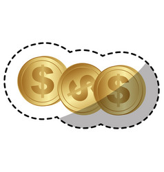 Gold coins dolar currency vector