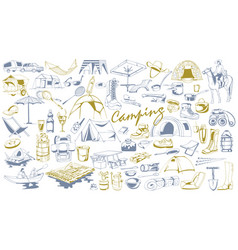 Hand drawn camping elements set vector