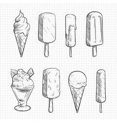 ice cream sketch collection vector image