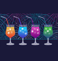 Ink hand drawn party drinks colorful collection vector