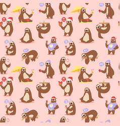 Laziness sloth animal character different pose vector