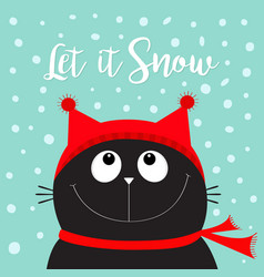 let it snow black cat kitten head face looking up vector image vector image