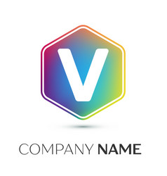 letter v logo symbol in the colorful hexagonal on vector image