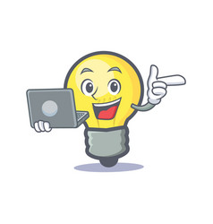 light bulb character cartoon with laptop vector image