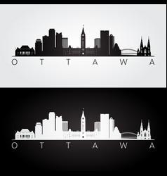 Ottawa skyline and landmarks silhouette vector
