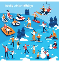 People engaged in winter sports vector