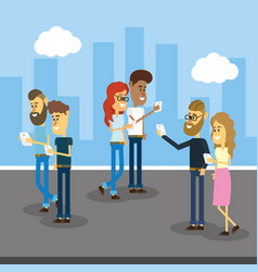 People with smartphone and social connection vector