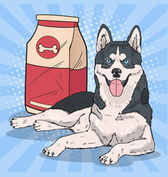pop art husky dog with big food pack vector image