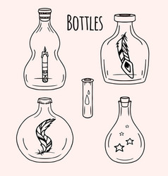 Set of hand-drawn doodle bottles for your vector