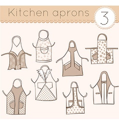 set of kitchen aprons 3 vector image
