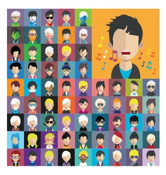 Set of people icons in flat style with faces 13 a vector