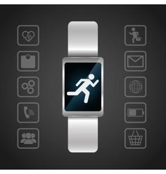 Smart watch wearable technology portable dark vector