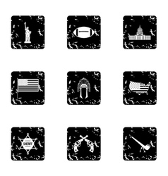 Tourism in usa icons set grunge style vector