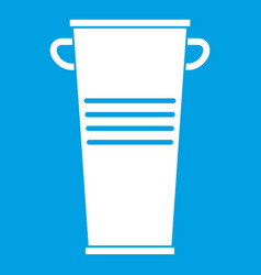 Trash can with handles icon white vector