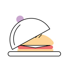 Tray with delicious burger vector
