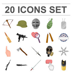 types of weapons cartoon icons in set collection vector image vector image