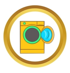 Yellow washing machine icon vector image