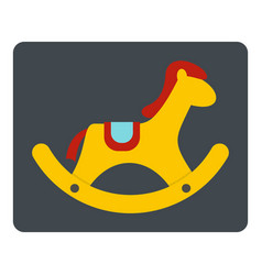 Yellow wooden rocking horse icon isolated vector