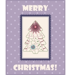Christmas card with tree vintage vector image