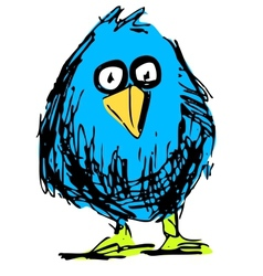 Cute bird in cartoon style vector
