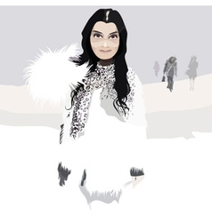 Beautiful woman in white fur coat in winter vector
