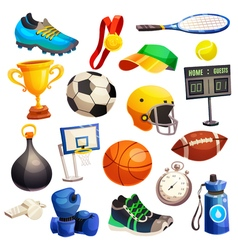 Sport inventory decorative icons set vector