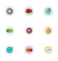 Choice icons set pop-art style vector