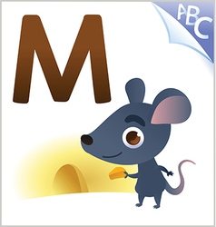 Animal alphabet for the kids M for the Mouse vector image